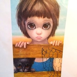 "Vtg 60s SAD EYES black cat ""WATCHING"" keane LITHO"